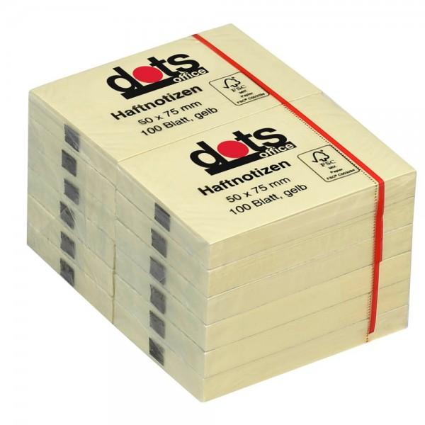 Dots Haftnotiz 50 x 75mm gelb (12er Pack)