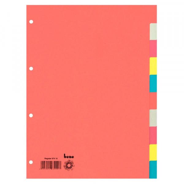 bene Ordnerregister DIN A4 Vollformat blanko 10-teilig (5er Pack)