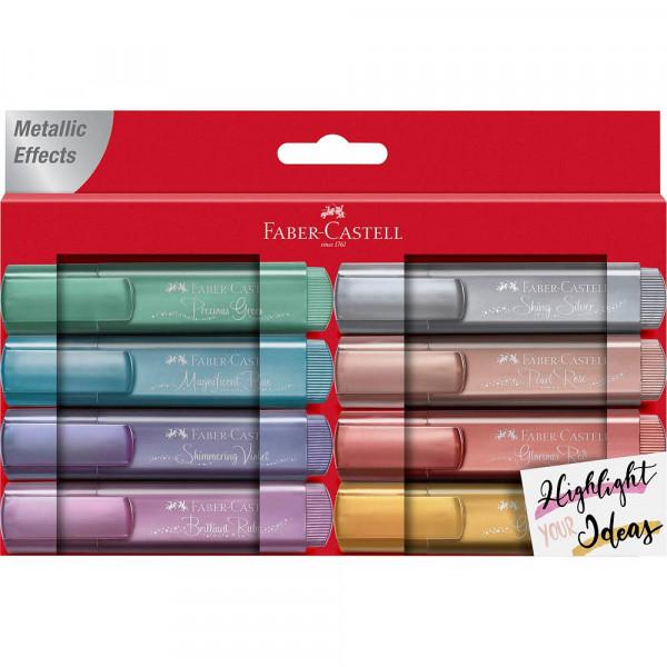 Faber-Castell Textmarker TL 46 metallic gold, silver, rose, ruby, blue, green, violet, red (8er Pack)