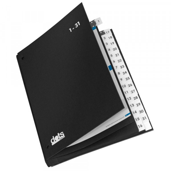 dots Pultordner / Wiedervorlagemappe 1-31 schwarz DIN A4 (32 Fächer)