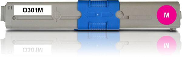 Frontalansicht des OKI C301 kompatiblen Toners in Magenta