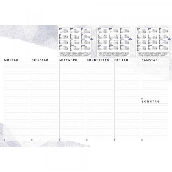Schreibtischunterlage Weiss / Blau, 3 Jahres Übersicht 40 Blatt (60,0 x 42,0)