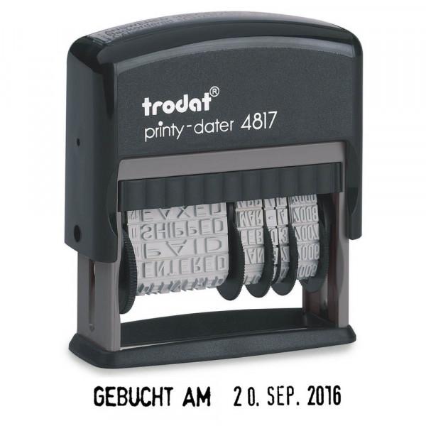 Trodat 4817 Datums- und Textstempel Printy schwarz (46 x 5 mm)
