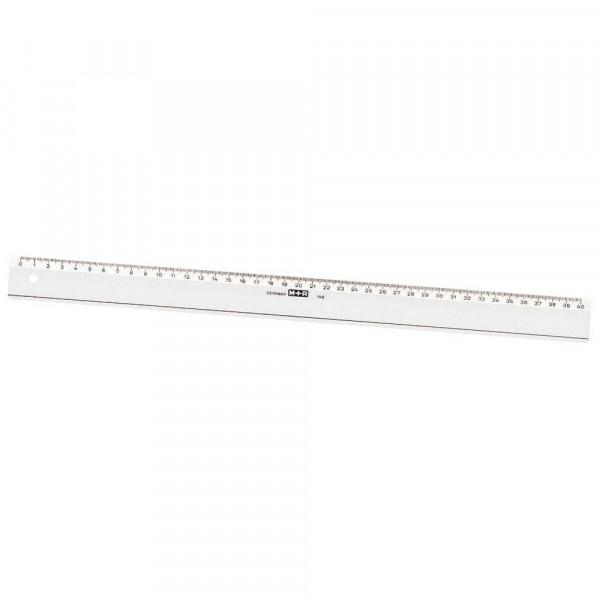 M + R Lineal mit Facetten und Tuschekante glasklar - 40 cm