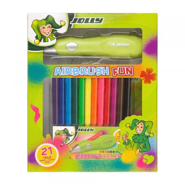 Jolly Kinder Airbrushset (1 Airbrushpen, 12 Farbstifte, 7 Schablonen, 1 USB-Ladekabel)