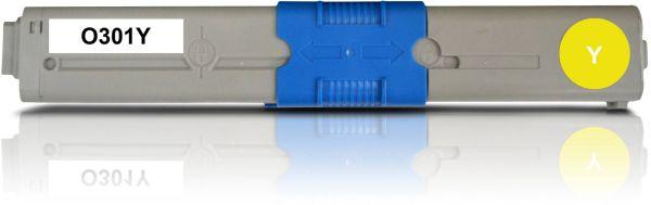 Frontalansicht des OKI C301 kompatiblen Toners in Gelb