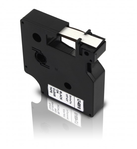 Kompatibel zu Dymo D1 40910 / S0720670 Schriftband 9mm Schwarz auf Transparent