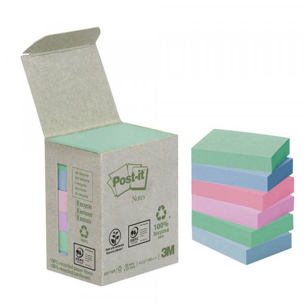 Post-it 653-1GB Recycling Notes Rainbow Haftnotizen (6 Blöcke a 100 Blatt)