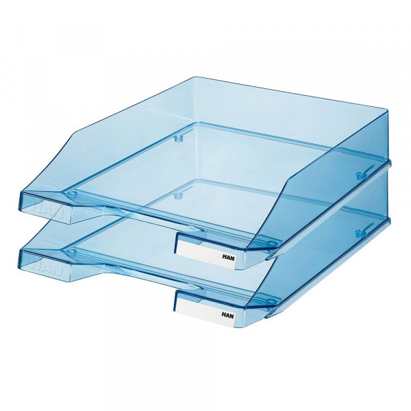 HAN Ablagefächer DIN-C4 blau-transparent stapelbar (2er Pack)