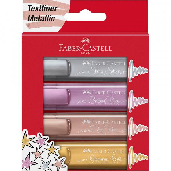 Faber-Castell Textmarker TL 46 metallic gold, silver, rose, ruby (4er Pack)