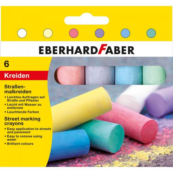 Eberhard Faber Straßenmalkreide farbsortiert (6 Stück / 14cm lang)