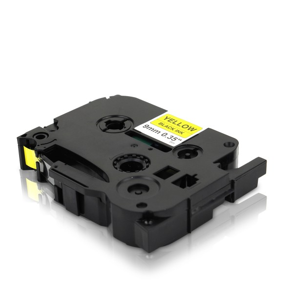 Kompatibel zu Brother TZE-621 P-Touch Schriftband 9mm Schwarz auf Gelb