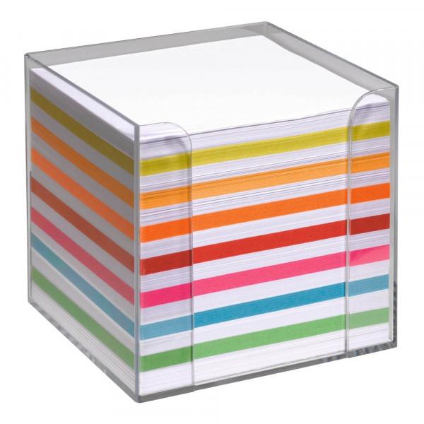 folia Zettelbox transparent Papierfarbe farbsortiert (inkl. 700 Notizzettel)