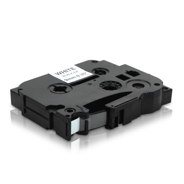 Kompatibel zu Brother TZE-221 P-Touch Schriftband 9mm Schwarz auf Weiss