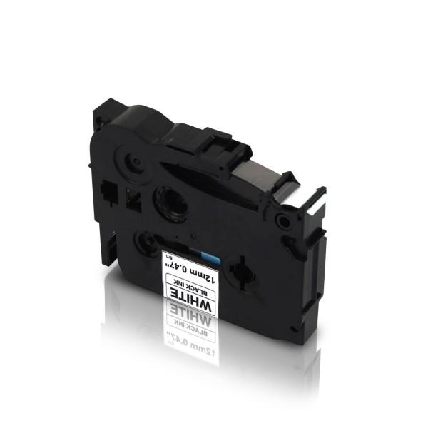 Kompatibel zu Brother TZE-S231 P-Touch Schriftband 12mm Schwarz auf Weiss (extra-stark klebend)