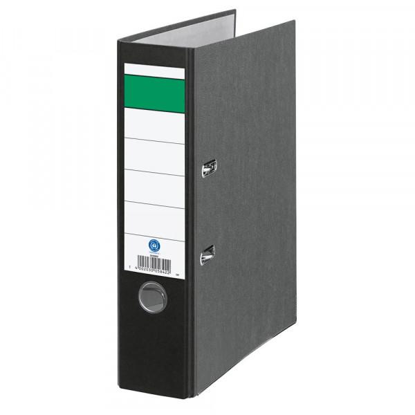 Ordner DIN-A4 grüner Balken breit Rückenbreite 8,0 cm Schwarz-Wolkenmarmor