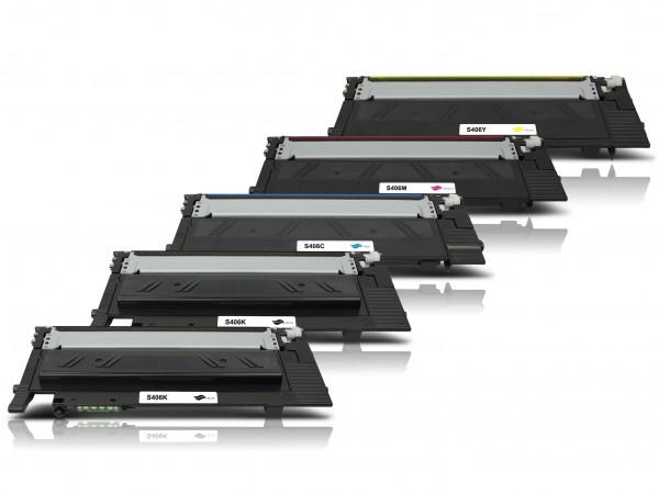 Kompatibel zu Samsung CLT-K406S CLT-C406S CLT-M406S CLT-Y406S Toner Multipack CMYK (5er Set)