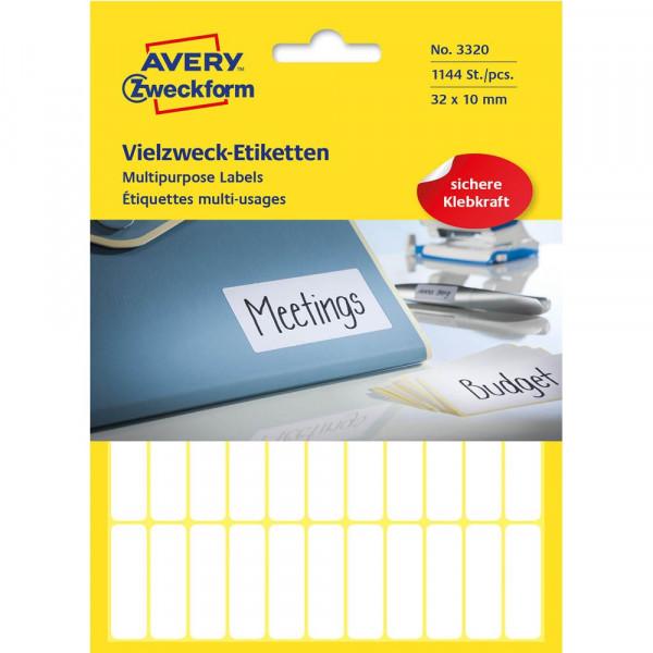 Avery Zweckform 3320 Etiketten 32 x 10 mm weiß (26 Bögen a 44 Etiketten)