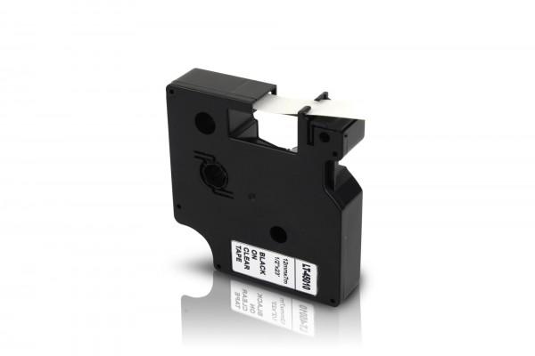 Kompatibel zu Dymo D1 45010 / S0720500 Schriftband 12mm Schwarz auf Transparent